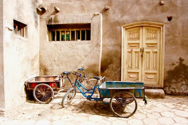 Driewieler fiets of een transportfiets kope